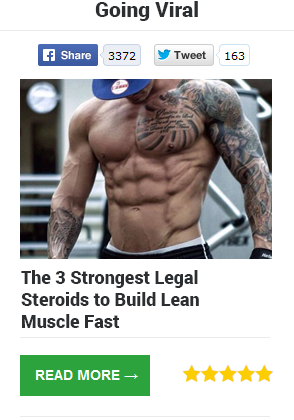 A facebok ad showing a bodybuilder with abs noted the 3 srnest legal stroids to build lean muscle fast